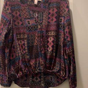 2 for $10, printed v neck blouse